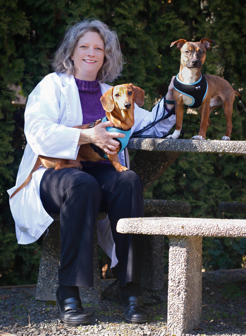 Dr. Kimberly Boothe with her dogs Zibbit and Mokus